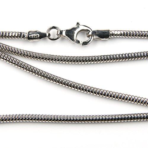 Silberkette Schlangenkette Halskette in der Stärke 1.9mm, Länge frei wählbar, Karabinerverschluss Juweliersqualität
