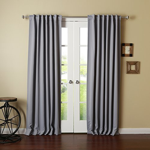 Best Home Fashion Thermal Insulated Blackout Curtains - Back Tab - Grey - 52W x 102L - (Set of 2 Panels) by Best Home Fashion