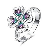 YAZILIND Platino Plateado corazón Cubic Zirconia Hueco 4 Hojas Rhinestone Boda Eternity Amor Anillo de la joyería Elegante para Las Mujeres niñas tamaño 14, 5