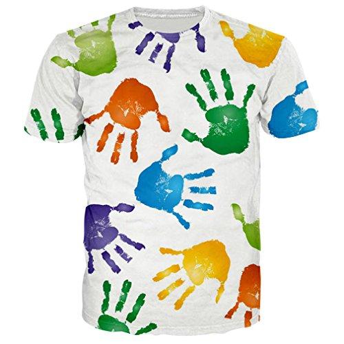 Für Nette T-shirts Männer (BFUSTYLE Unisex nette Hände Druck beiläufige Neuheit Sommer-T-Shirts T-Stücke L)