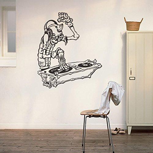kuamai Skelett Menschen Hören Musik Kreative Vinyl Tapetensticker Home Decor Wohnzimmer DIY Kunst Wandbild Abnehmbare Wand Aufkleber