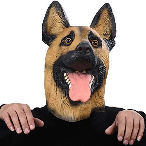 WWVAVA Maske Hundemaske Kopf Vollgesichtsmaske Halloween Maskerade Kostümparty Cosplay Kostüm Polizei Tier Deutscher Schäferhund Latex Maske &&, 1