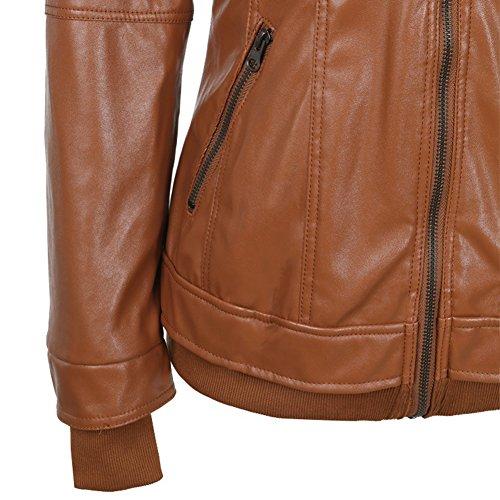 Hooded veste simili cuir Manteau a capuche veste de motard Marron
