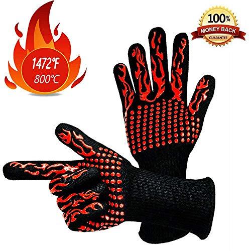 CULASIGN Ofenhandschuhe, Grillhandschuhe Hitzebeständige, Premium Kochhandschuhe für BBQ, Kochen, Backen und Schweißen Grill Handschuhe hitzebeständig,bis zu 932 °F, 1 Paar (Rot)