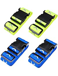Swify Luggage Straps Suitcase Belt Travel Accessories Built-In Contact Tags (4 Packs)