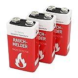 3 ANSMANN Rauchmelder Batterien Lithium 9V - 10 Jahre lagerfähige Brandmelder Batterie - Lithium E-Block für maximale Leistung - 9V