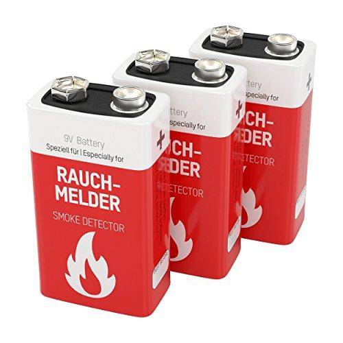 ANSMANN Lithium Rauchmelder Batterie Feuermelder Brandmelder CO-Melder Longlife Lithium 9V E-Block Rauchmelderbatterie 10 Jahre lagerfähig - Lithium für noch mehr Power 3er Pack