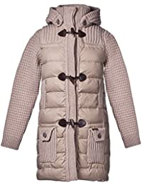 Bark Ladys Duffle Coat Knitted and Quilted with Down Filling in Sand d5011aaa82c