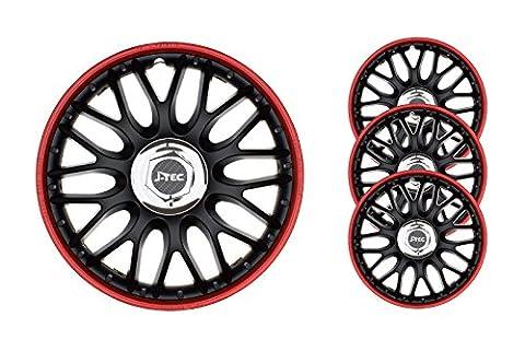 4 pc Enjoliveurs de roues ORDEN NOIR-ROUGE 14 pouces