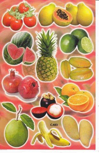 Früchte Obst Ananas Melone Mango Aufkleber 12-teilig 1 Blatt 270 mm x 180 mm Sticker Basteln Kinder Party -
