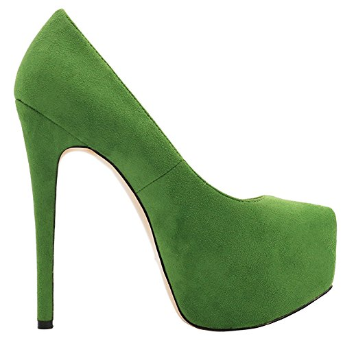 MERUMOTE Damen Y-069 Plateau pumps Stilettos High Heels Party Pumpen EU 35-46 Green-Faux Wildleder