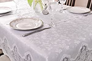 110x160 Rechteckig weiß Tischdecke mit Blumenmuster Blumenmotiv gipürenähnlich fleckenabweisend Lotus Effekt elegant praktisch außergewöhnlich klassisch 288
