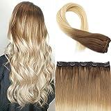 Moresoo 18Zoll/45cm Clip In Human Hair Extensions Echthaar Tressen One Piece Hair Extensions Ombre Farbe Braun #6 bis Blond #60 50g