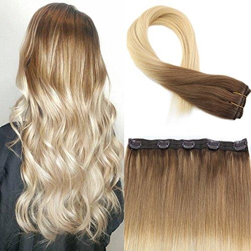 Moresoo 16Zoll/40cm Ombre Echthaar One Piece Clip In Extensions Braun #6 bis Blond #60 Glatt Haarverlängerung Remy Human Hair 50g