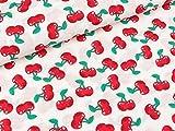 Quality Textiles Baumwollpopeline Kirschen rot auf Weiß