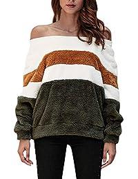 Sannysis Mujer Jerséis Moda Suéter Casual Jersey Prendas de Punto de Cuello Barco Mangas Largas Camiseta