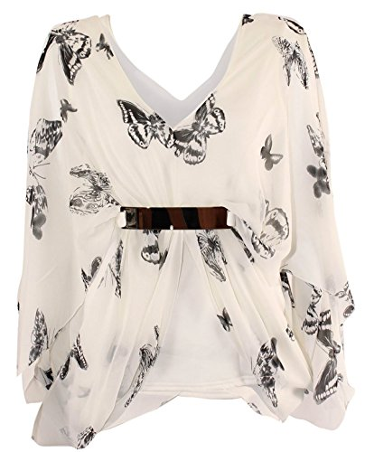 New Womens Plus Size Kimono Chiffon Butterfly Print Lined Belted Tops ( White , UK 16-18 / EU 44-46 ) (Belted Top Kimono)