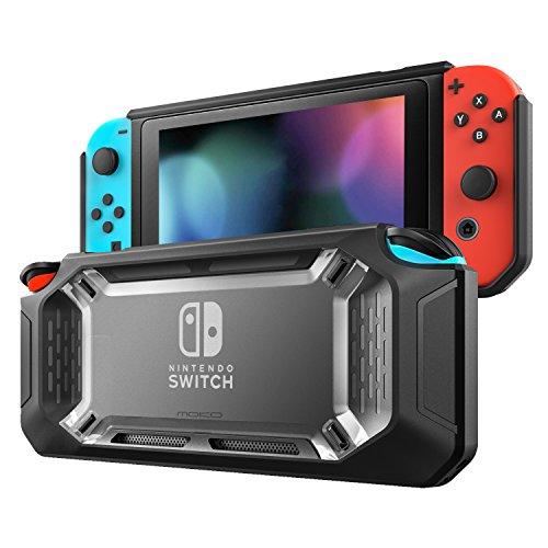 MoKo Funda para Nintendo Switch, Resistente Delgado Protector Duro Carcasa del Switch, Amortiguación y Antiarañazos para Consola Nintendo Switch y Joy con Controllers 2017 - Claro y Negro