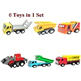 US1984 Pull Back Vehicles, Mini Push Pull Back Car, 6 Pcs Assorted Construction Vehicles Toys, Kids Pull Back Racer Cars Toy Play Set, Vehicle Play Set For Children For Fun