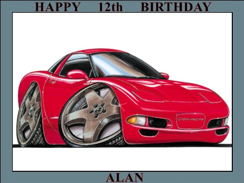 158-chevrolet-corvette-99-red-koolart-0158-personalised-10-x-75-icing-cake-topper-any-name-age-or-me