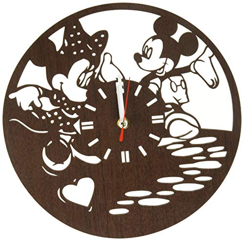 Minnie Einladungen Kostüm - Handgefertigte Wanduhr aus Holz mit Micky und Minnie Maus als Geschenk für Kinder, Jungen, Mädchen, Fans, Kinderzimmer, Heimdekoration, Geburtstagsparty, Dekoration, Babyzimmer, Valentinstag
