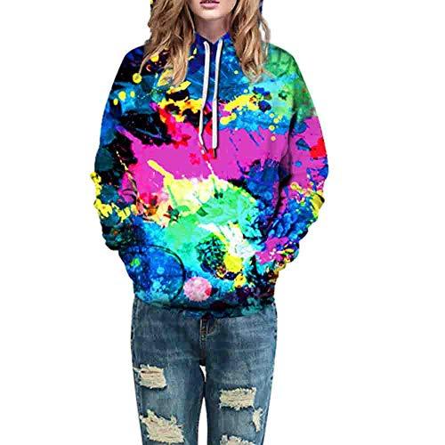 Dasongff Damen Langarmshirt Halloween Kostüm Halloween Stil 3D Druck Hoodie Sweatshirt Sportpullover mit Tunnelzug Herren Damen Kapuzenpullover
