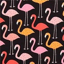 Tela negra de animales con flamencos Urban Zoologie de Robert Kaufman