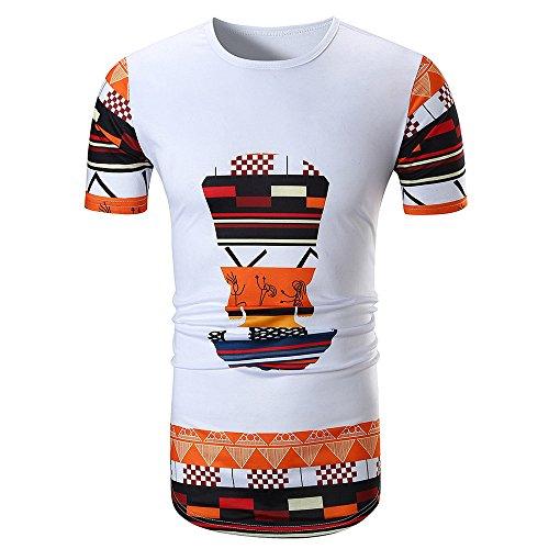 T-Shirt Herren Sommer , BURFLY _ 2018 Mode Männer Sommer Casual African Print O Hals Pullover Kurzarm T-shirt Top Bluse (Weiß, M)