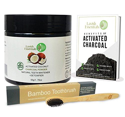 Lavish Essentials - Poudre de Blanchiment des Dents | Teeth Whitening | Blanche Dentifrice Organiques 100% Naturelles Activé Au Charbon De Coconut (50g) + GRATUIT brosse à dents en bambou