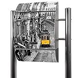 BANJADO Edelstahl Briefkasten groß, Standbriefkasten freistehend 126x53x17cm, Design Briefkasten mit Zeitungsfach Motiv Lissabon