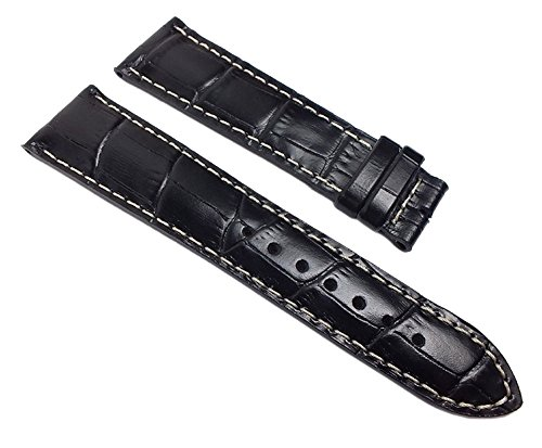 Maurice Lacroix Miros Ersatzband Uhrenarmband Leder Band Lousiana-Kroko-Print schwarz 22mm 22002F