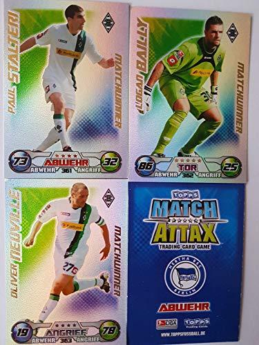 Match Attax Topps 2009 2010 - Trading Cards alle 3 Matchwinner - MÖNCHENGLADBACH: Stalteri, Bailly, Neuville (Topps-fußball-2010)