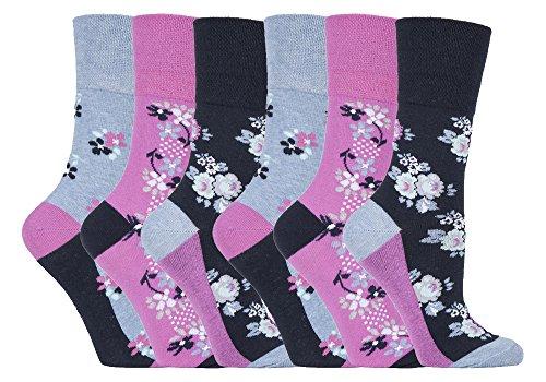 Gentle Grip - 6 Paar Damen Gesundheitssocken Diabetiker Druckfreie Spitze Handgekettelt Baumwollanteil Blumen Socken 37-42 EUR (GG95 Floral Denim) (Mädchen Floral Denim)