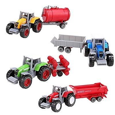 4 Stückes Fahrzeugminiatur modelle, Die Cast Slide Farm Traktor Autos Spielzeug Spiel Fahrzeug Set?4 Stückes traktors, Spielzeugauto für Kleinkinder Reibungsbetriebener Zementmischer, Metall Bauernhof Traktor Anhänger Spielzeug Fahrzeug Spielset - Disc Pf