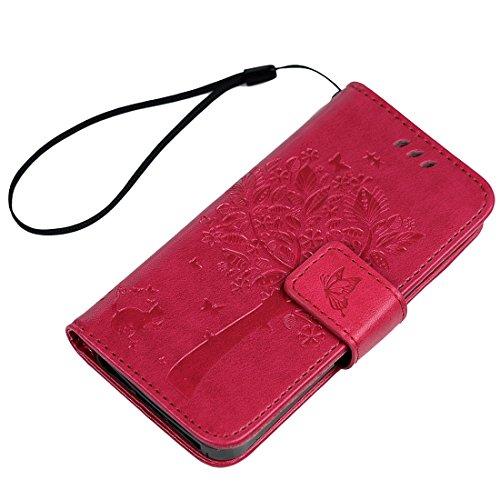 iPhone 55S se case–Lanveni Flip Case [costruito in ecopelle in pelle Premium custodia per iPhone A1428A1429/A1442/A1453A1457/A1518/A1528/A1662/A1723/A1724& 1x Feather touch Pen (albero gatto fa rose red