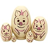 Pivizon 5pcs Egg Shape Cute Animal Russian Nesting Dolls Wooden Handamde Matryoshka Nested Dolls For Kids Toy Birthday Christmas Gift (Pig)