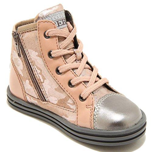 9379F sneaker HOGAN REBEL R141 ZIP INTERNA scarpa bimba shoes kids Rosa/Argento
