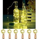 Flaschen-Licht Nacht Licht Lichterkette Weinflasche Kork Stimmung Lichter 2M 20 LED  Lampe String Romantische Beleuchtung für Bar Party Weihnachten Hochzeit, mit Batterien (Warmweiß, 6 Stück)
