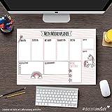 """Detailverliebt! DIN A3 Schreibtischunterlage """"Mein Wochenplaner"""" Motiv Einhorn mit 40 Blatt, dv_001 – Für alle großen und kleinen Mädchen, die Einhörner lieben -"""