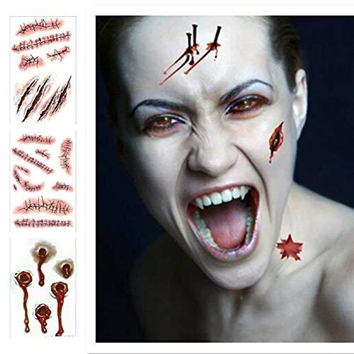 Tatuajes temporales para Disfraz de Halloween en 3D, Zombie Cicatrices Tatuajes Pegatinas con Falso Scab Sangre (20 Hojas)