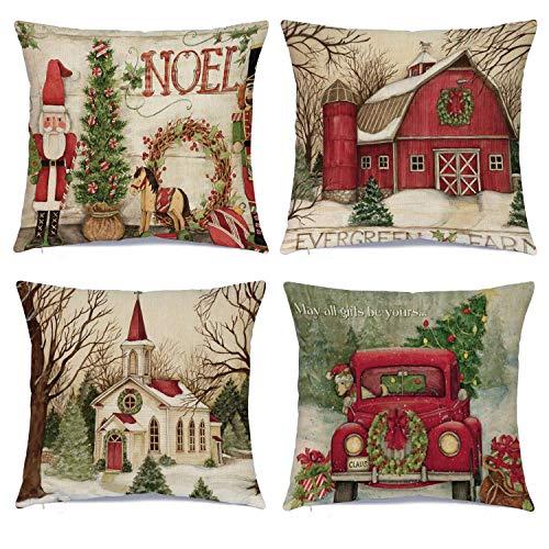 DomoWin Funda de cojín de Navidad, Funda de Almohada Navidad Decorativa de Lino de algodón Fundas...