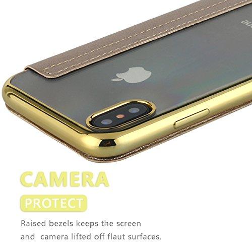 iPhone X Hülle,iPhone X Case,iPhone 10 Hülle Snewill Slim PU Leather Folio Flip Handyhülle with Card Slot & Clear Soft TPU Case Cover Schutzhülle für Apple iPhone X/10 - Black Gold