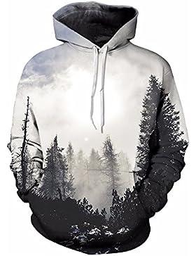 WDBAYXH Mens Hoodies Inverno Primavera felpe 3D Stampa foresta di alberi semplice giacca HipHop cappotti tuta...