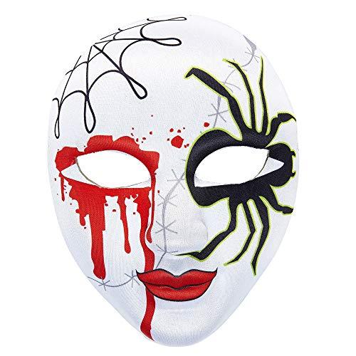Widmann 05708 - Maske Spinne mit Blut halb Gesicht, aus Stoff für Erwachsene (Schwarze Spinnenfrau Kostüm)
