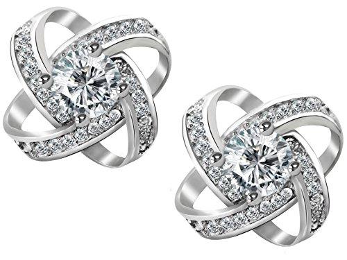 HEGA BONAVENTURE Glücksbringe Silber Ohrringe Silber Damen Schmuck aus Silber Zirkonia | Geschenkbox aus Samt | 925 Sterling Italienische Silber Hochwertiger Rhodiniert Siber