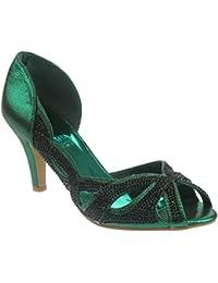 Zapatos negros oficinas Unze London para mujer LpaHD