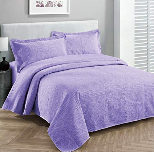 Übergroße Luxus-Tagesdecke für King/California King-Size-Bett, Lavendel, 3-teilig - California King-size-bett Bettdecken