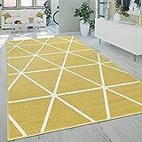 Paco Home Kurzflor Wohnzimmer Teppich Modern Geometrisches Design Rauten Muster In Gelb, Grösse:120x170 cm