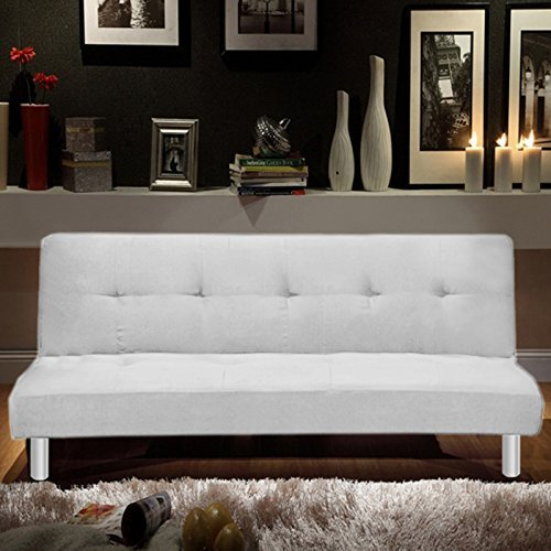 Sofá cama Bagno Italia 180x80, 3 puestos de microfibra blanca, sillón reclinable...