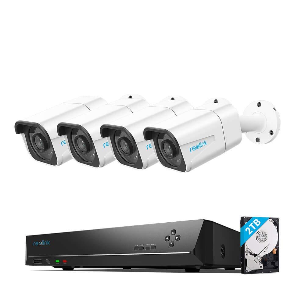 reolink RLK8-800B4 8-Kanal Überachungskamera-Set, 4 x 4K 8MP IP-Kameras